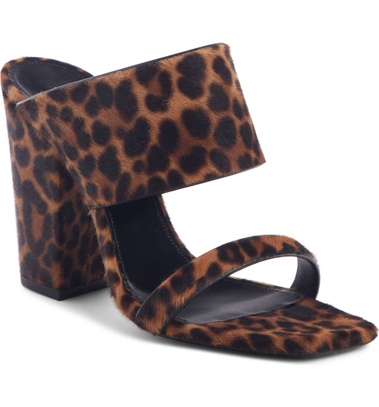 SAINT LAURENT Oak Genuine Calf Hair Double Band Mule Sandal, Main, color, LEOPARD