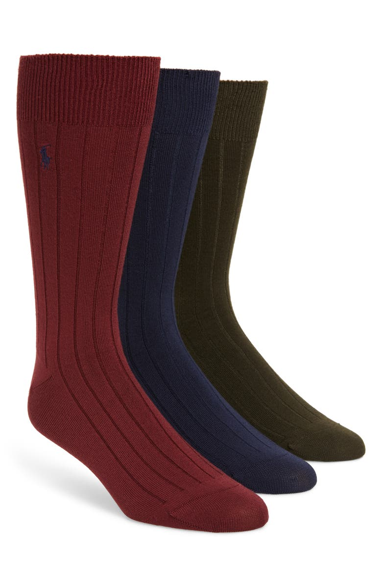 POLO RALPH LAUREN Ralph Lauren 3-Pack Supersoft Ribbed Socks, Main, color, MAROON