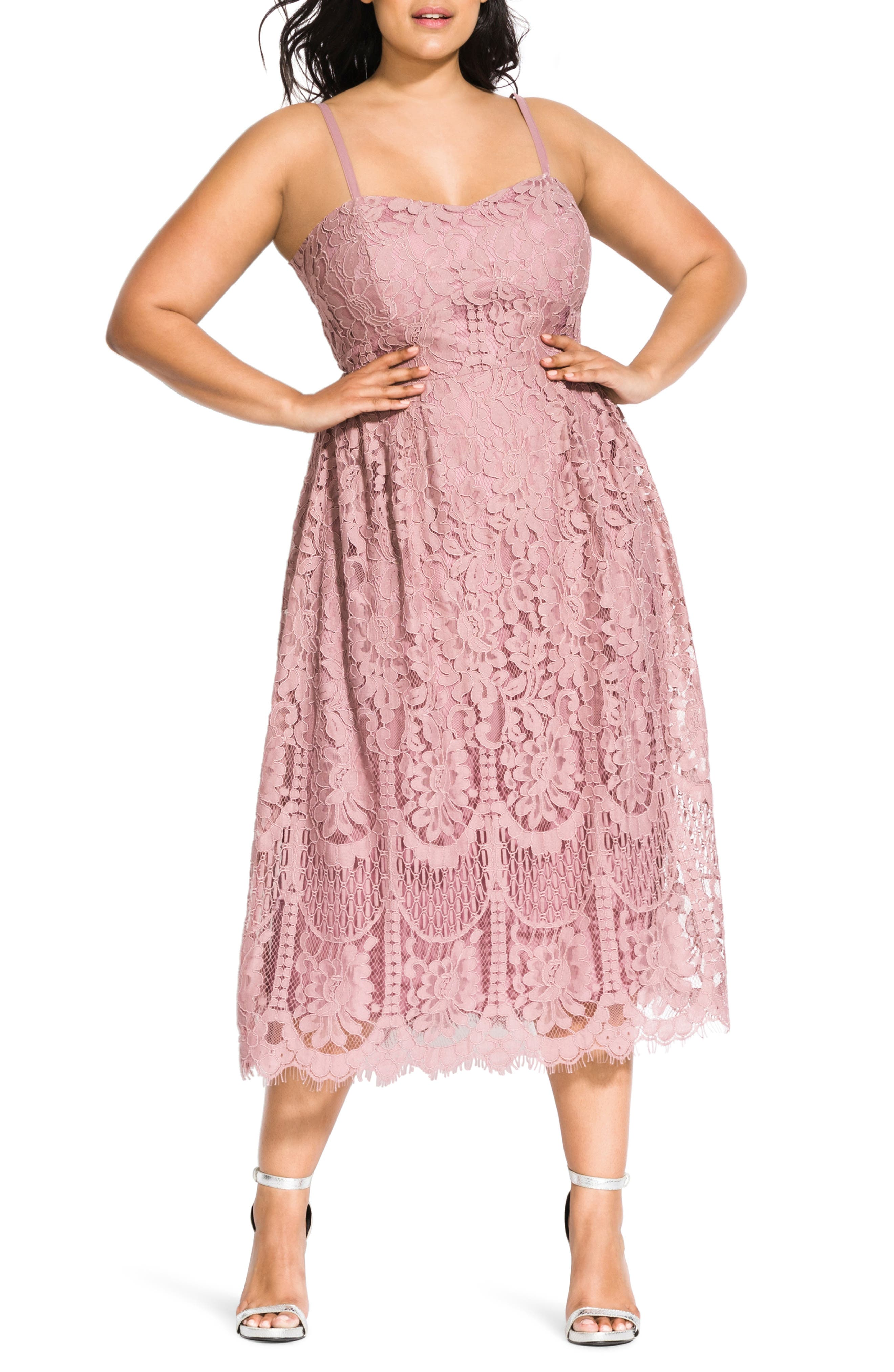 1950s Cocktail Dresses, Party Dresses Plus Size Womens City Chic Sweet Darling Lace Cocktail Dress Size Small - Pink $129.00 AT vintagedancer.com