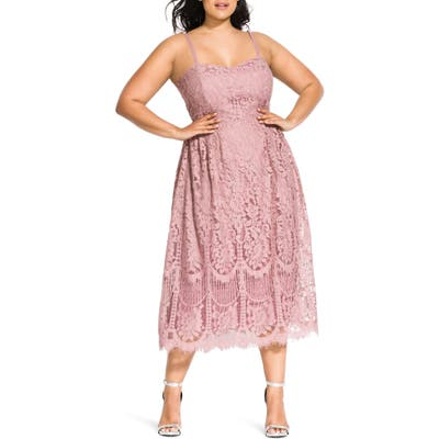 Plus Size City Chic Sweet Darling Lace Cocktail Dress, Pink