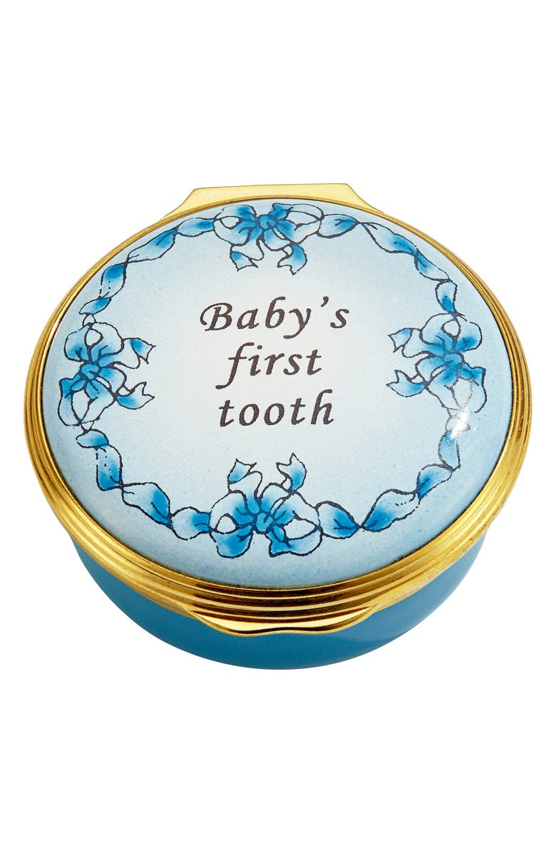 HALCYON DAYS Baby's First Tooth Enamel Box, Main, color, BLUE