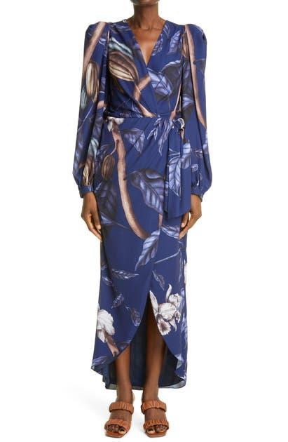 Johanna Ortiz REINO VEGETAL FLORAL PUFF LONG SLEEVE WRAP DRESS