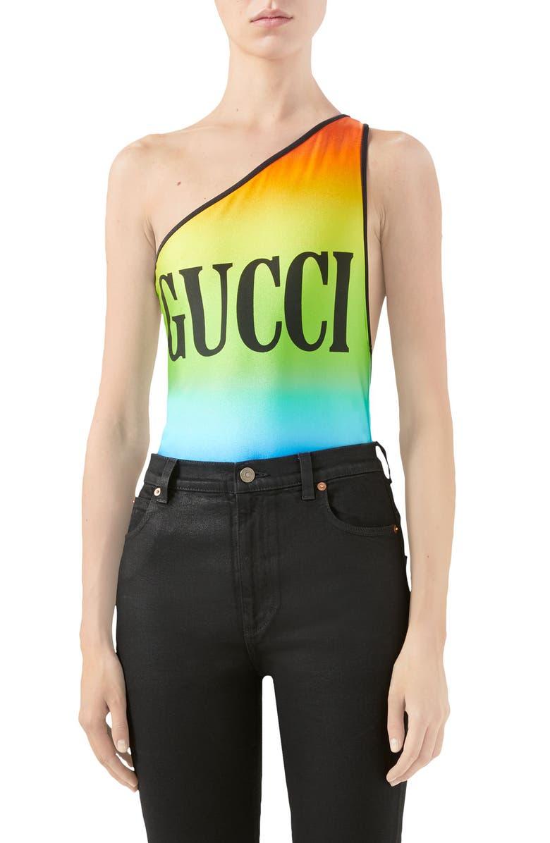GUCCI Logo Print Rainbow One-Piece Swimsuit, Main, color, BLACK/ MULTICOLOR