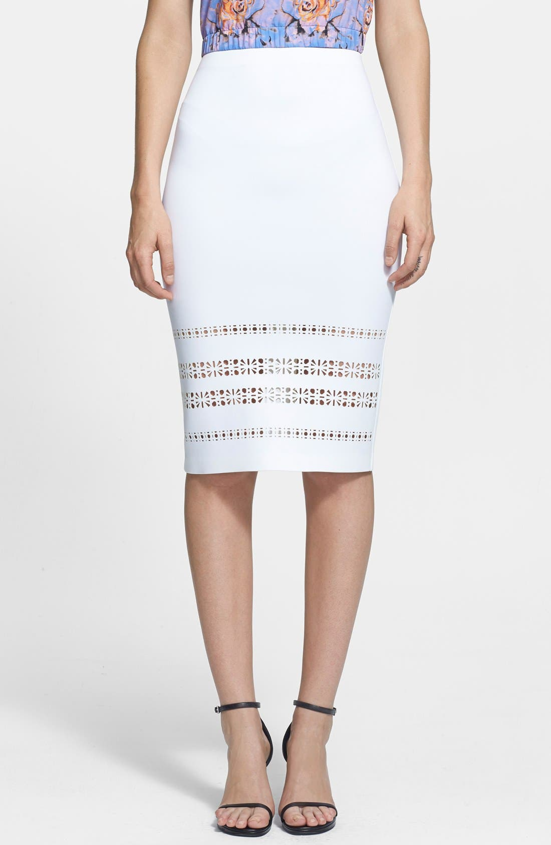 ,                             Laser Cut Neoprene Pencil Skirt,                             Main thumbnail 1, color,                             100