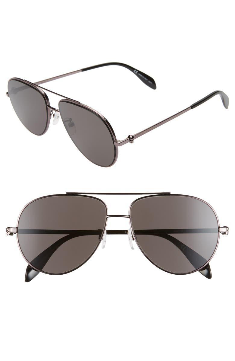 ALEXANDER MCQUEEN 60mm Aviator Sunglasses, Main, color, DARK RUTHENIUM