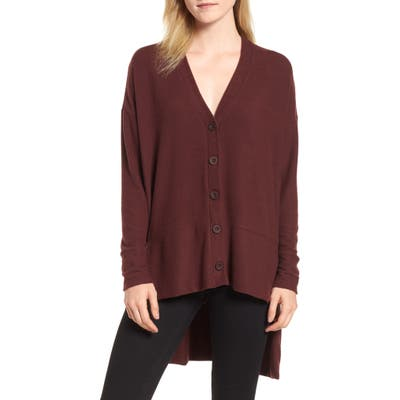 Petite Gibson High/low Easy Cardigan, Burgundy