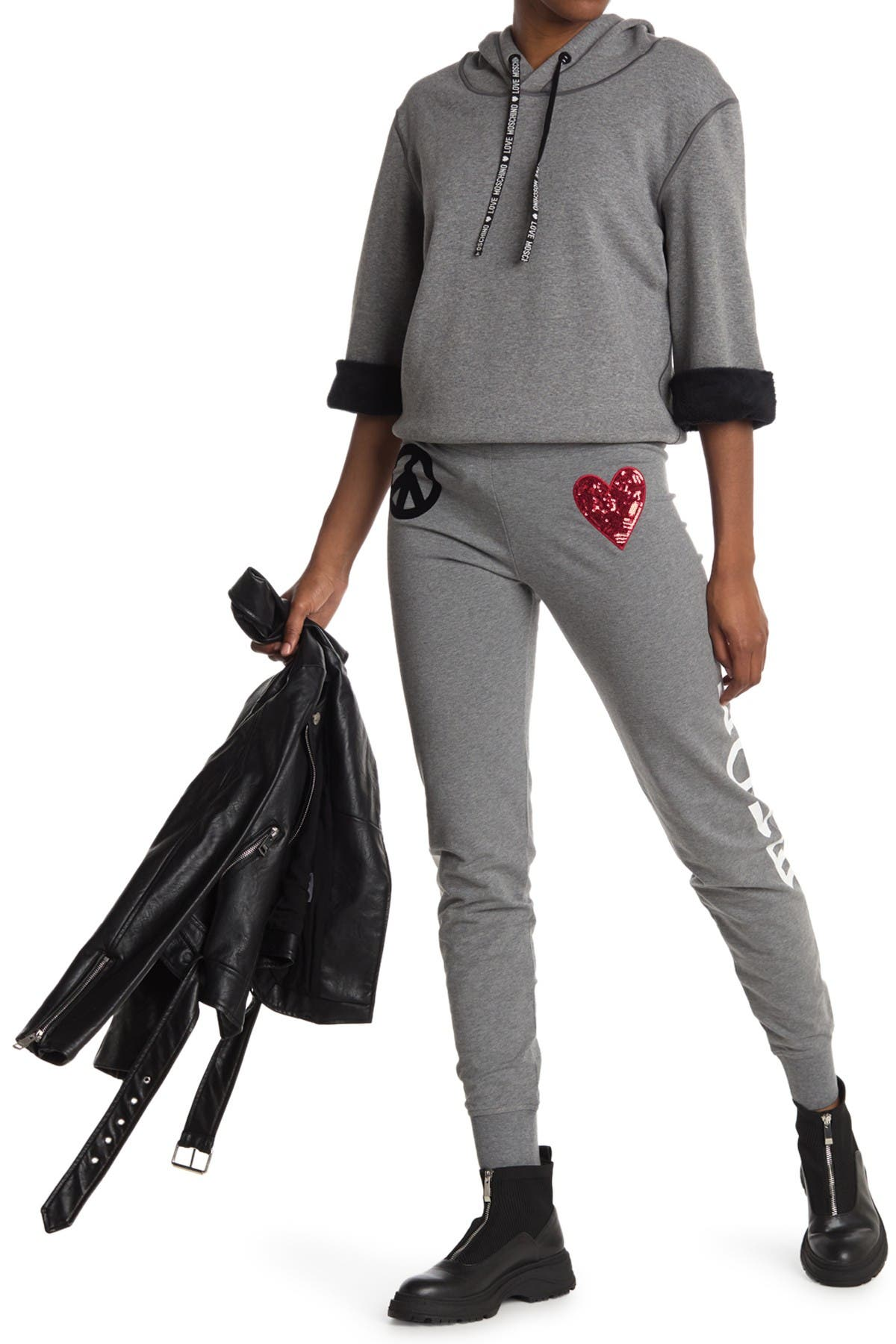 Image of LOVE Moschino Trousers With Peace/Love Print