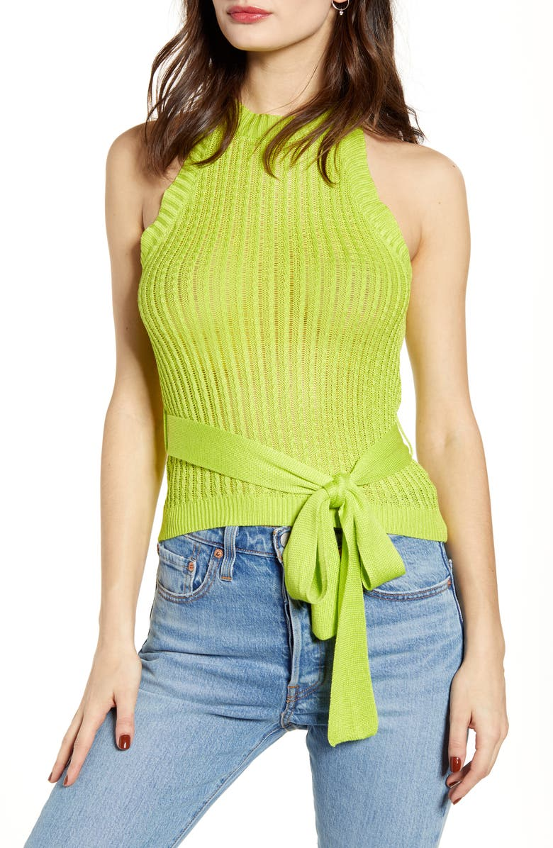 J.O.A. Halter Sleeveless Sweater, Main, color, LIME YELLOW