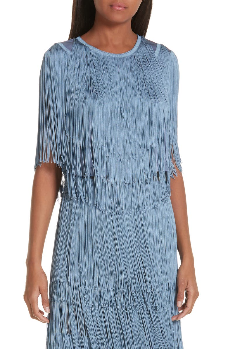 RACHEL COMEY Orbit Fringe Top, Main, color, PERIWINKLE