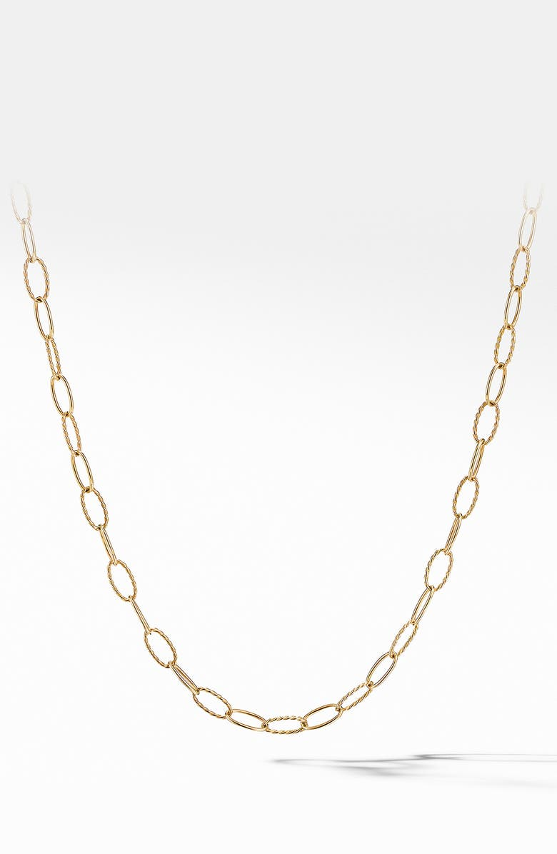 DAVID YURMAN Stax Elongated Oval Link 18K Gold Necklace, Main, color, GOLD