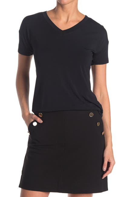 Image of Catherine Catherine Malandrino Short Sleeve V-Neck T-Shirt