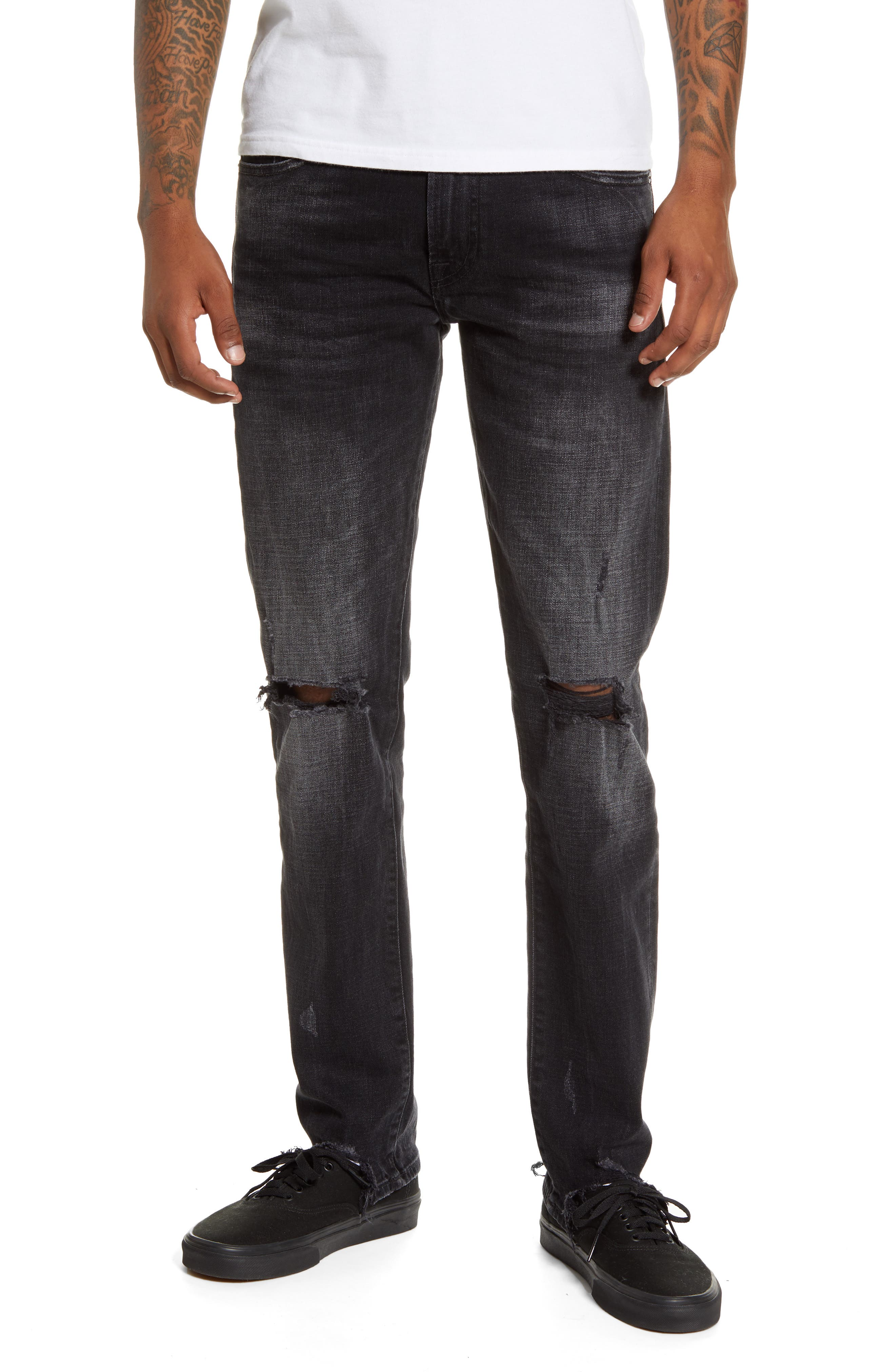 7 For All Mankind Mens Skinny Paxtyn Jeans in Dark Grey