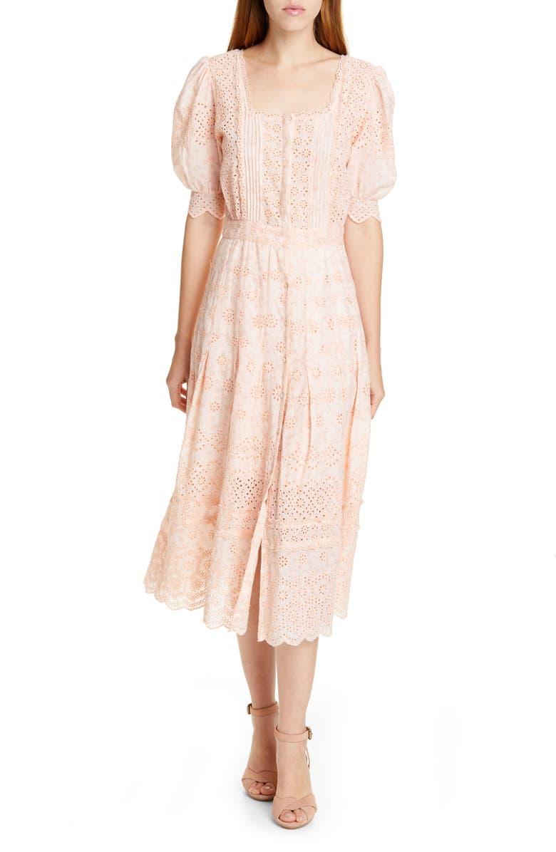LOVESHACKFANCY Helena Eyelet Midi Dress, Main, color, 684