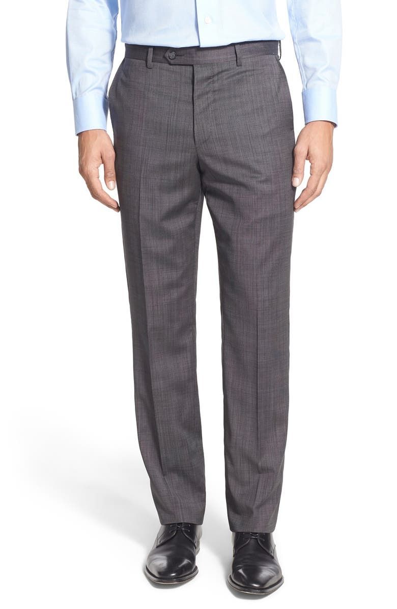 JOHN W. NORDSTROM<SUP>®</SUP> Flat Front Solid Wool Trousers, Main, color, 001