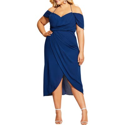 Plus Size City Chic Entwine Ruched Dress, Blue