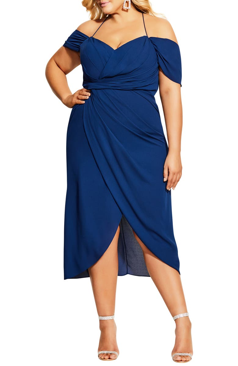 CITY CHIC Entwine Ruched Dress, Main, color, 403