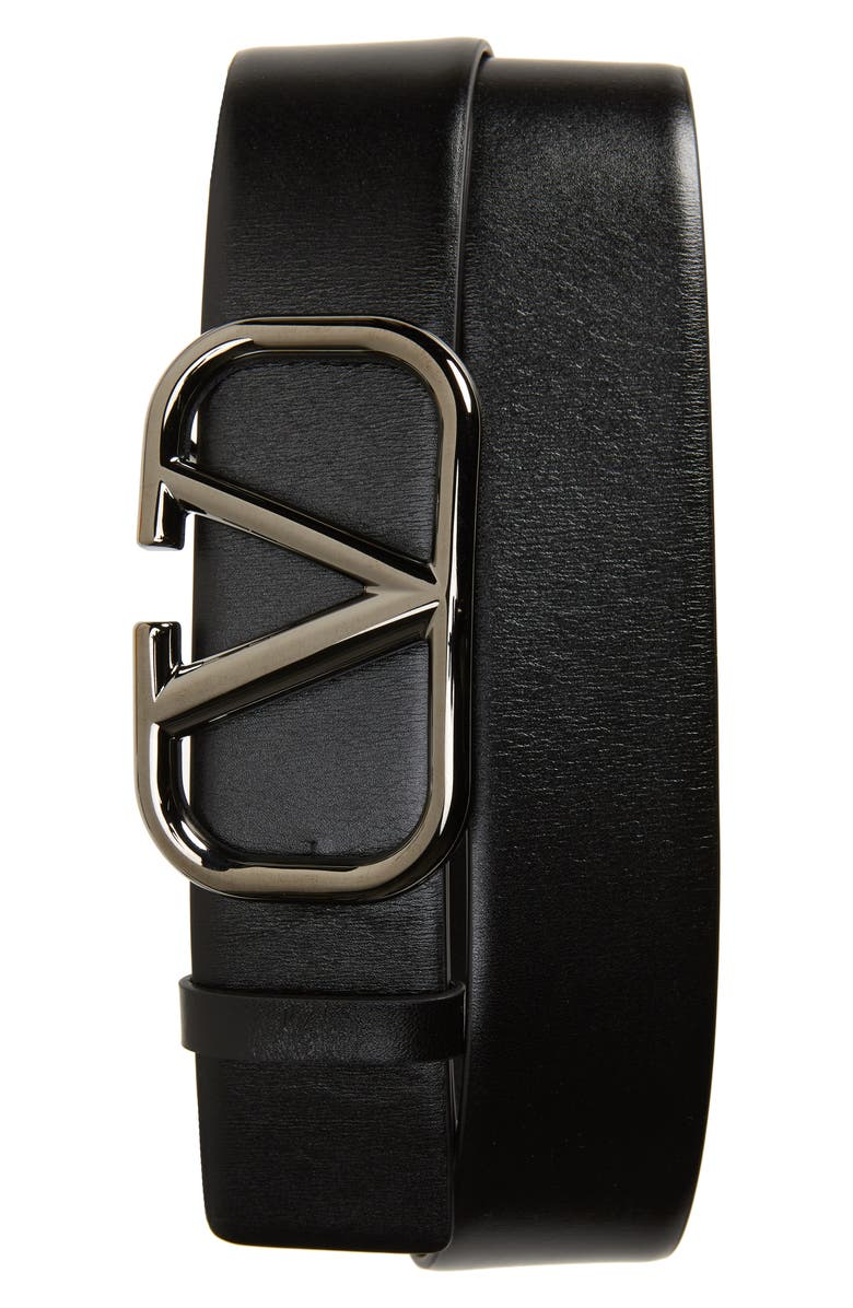 VALENTINO VLOGO Buckle Leather Belt, Main, color, 001