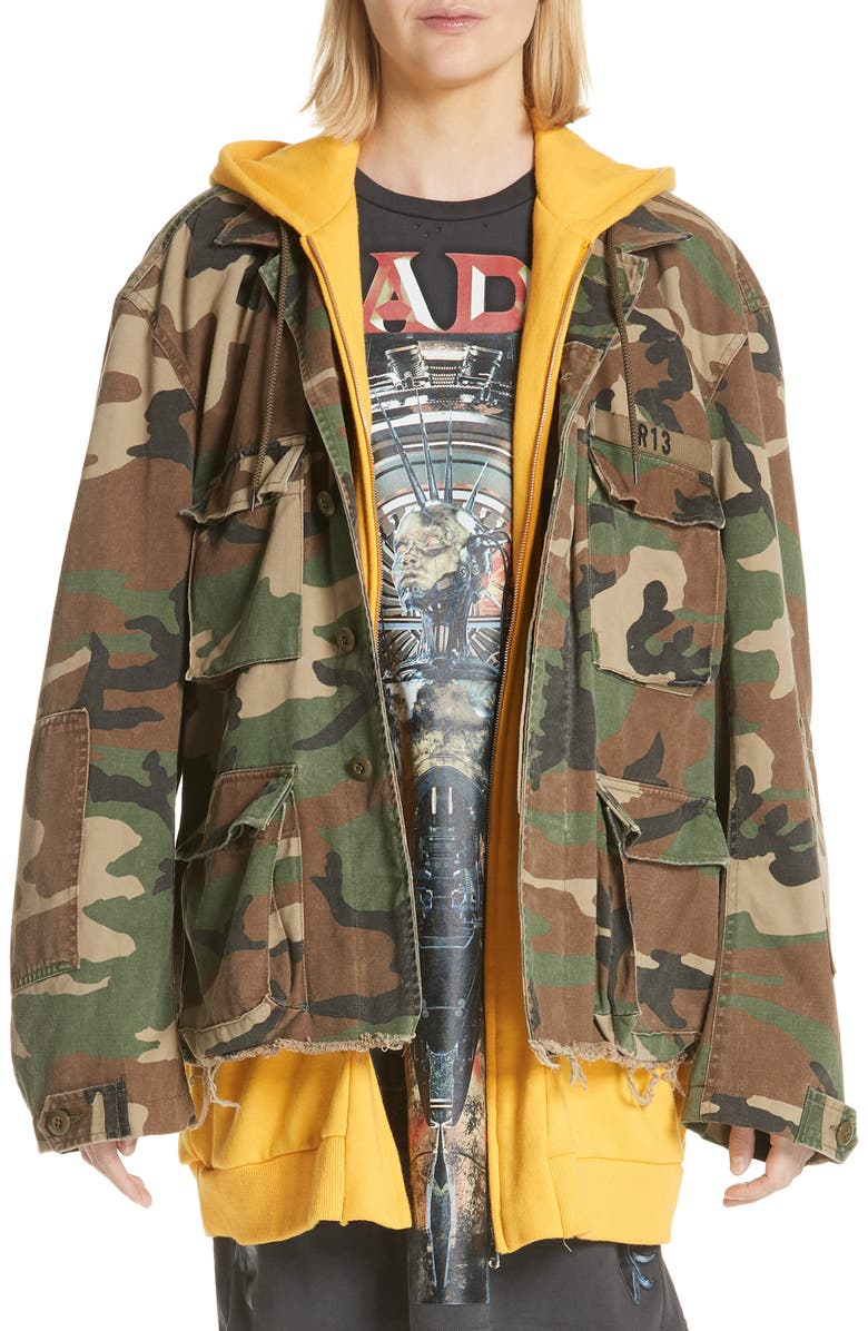 R13 Camo Abu Jacket with Long Hoodie, Main, color, CAMO W/ YELLOW COMBO