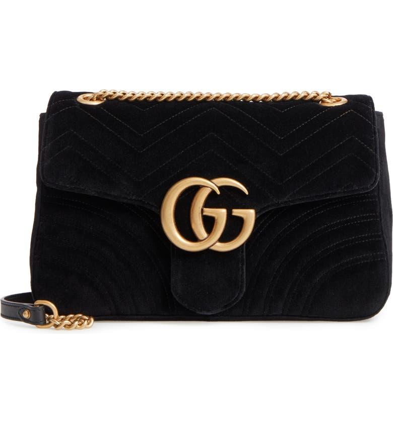 64f4757e Medium GG Marmont 2.0 Matelassé Velvet Shoulder Bag