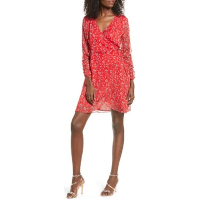 All In Favor Floral Wrap Minidress, Red