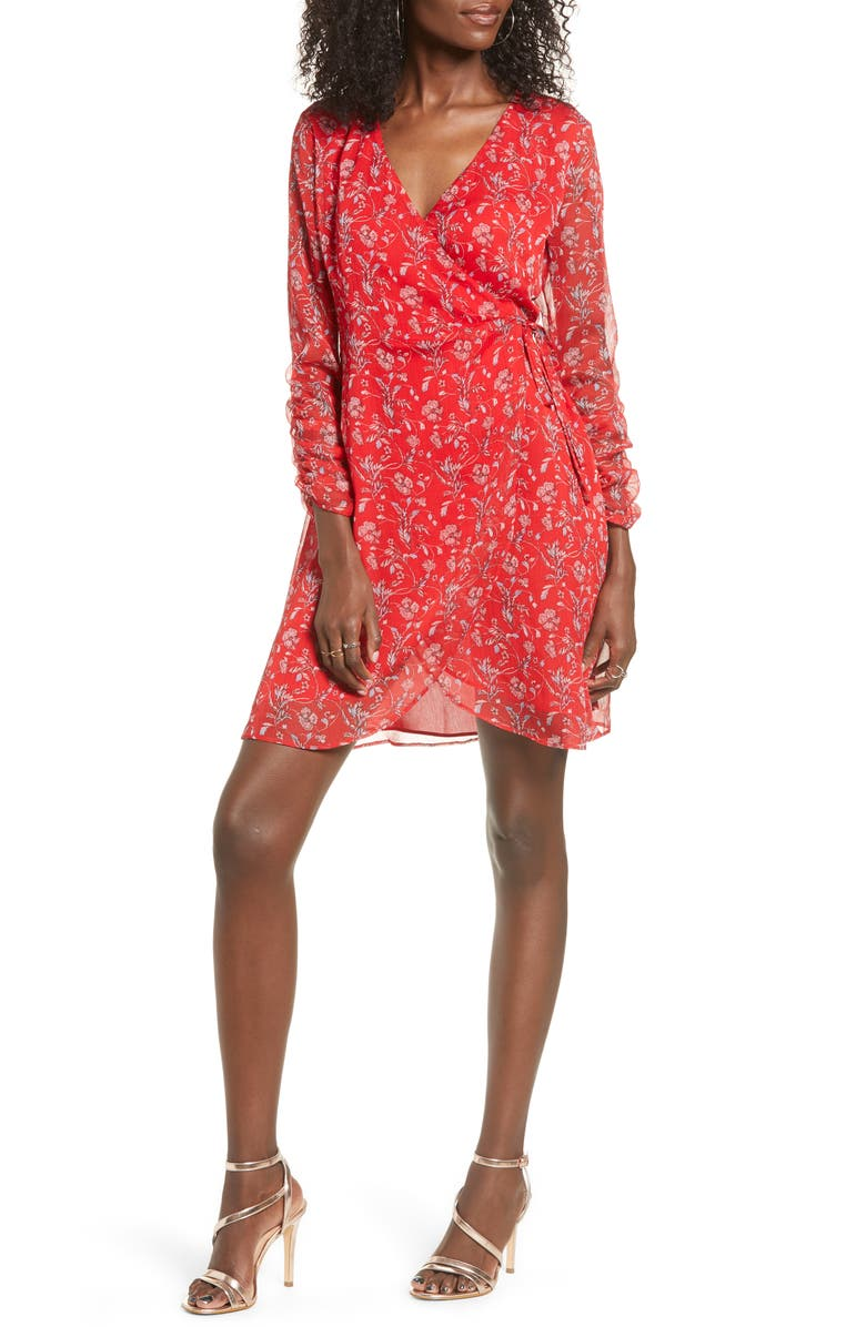 ALL IN FAVOR Floral Wrap Minidress, Main, color, RED MULTI