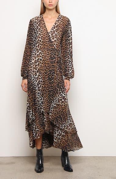 Leopard Print Mesh Long Sleeve Midi Dress, video thumbnail