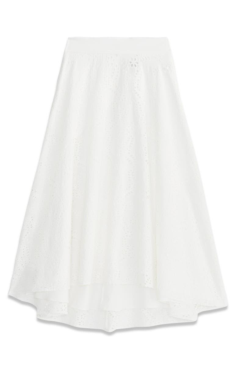 RACHEL ROY COLLECTION Eyelet Cotton Midi Circle Skirt, Main, color, 100