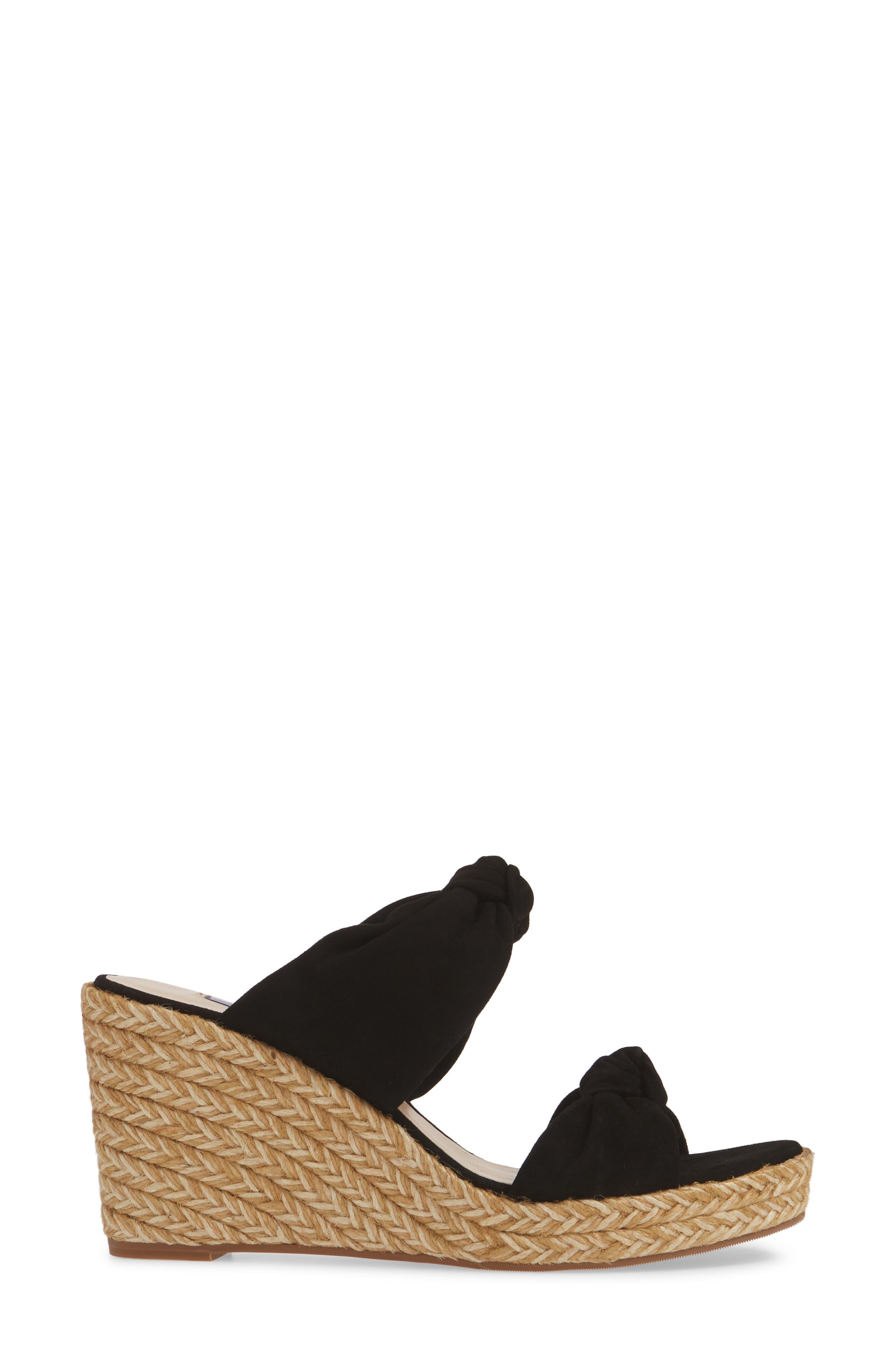 ,                             Sarina Espadrille Wedge Slide Sandal,                             Alternate thumbnail 3, color,                             BLACK SUEDE
