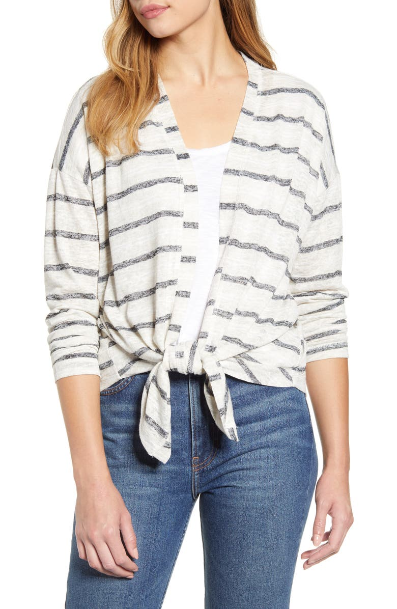 BOBEAU Cecile Tie Front Cardigan, Main, color, OATMEAL/ BLACK