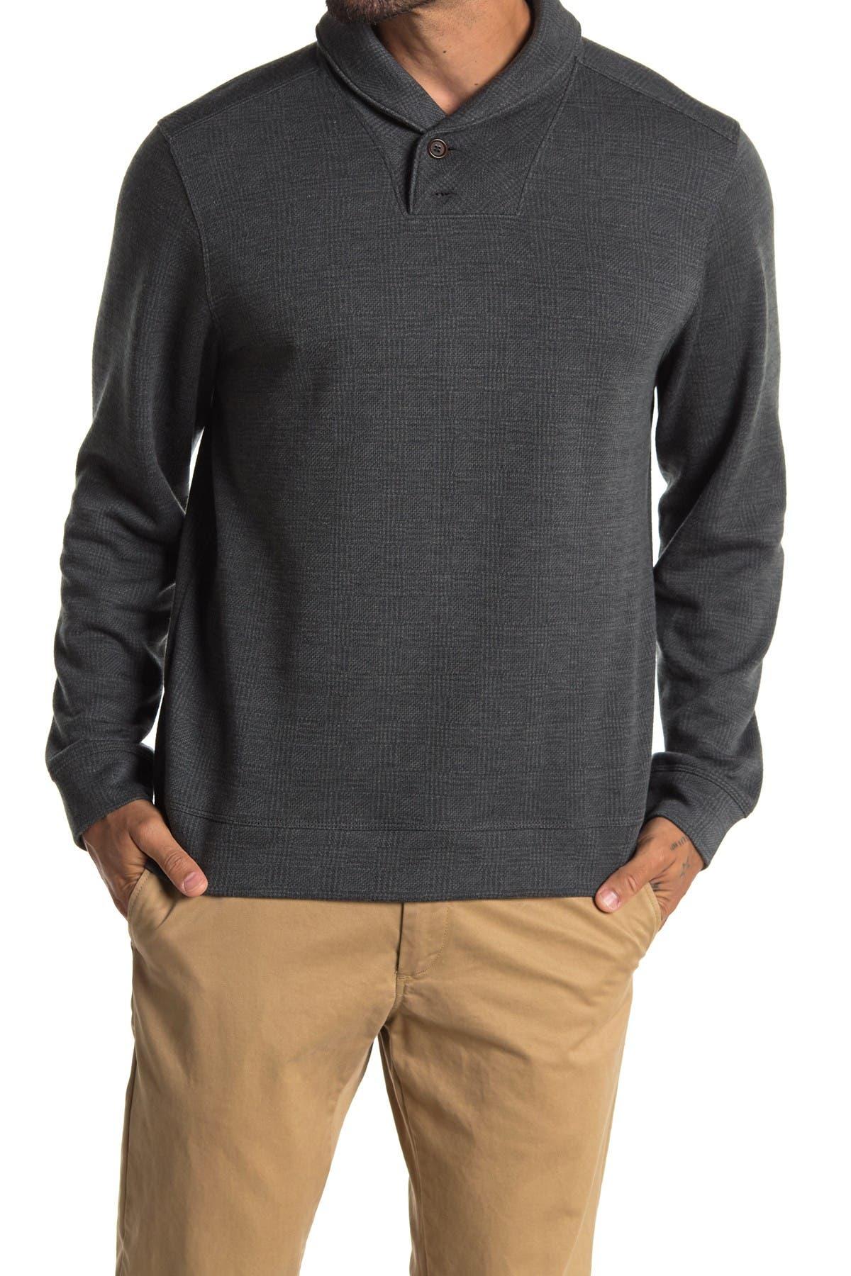 Image of Tommy Bahama Sanbar Plaid Shawl Collar Double Button Fleece Pullover