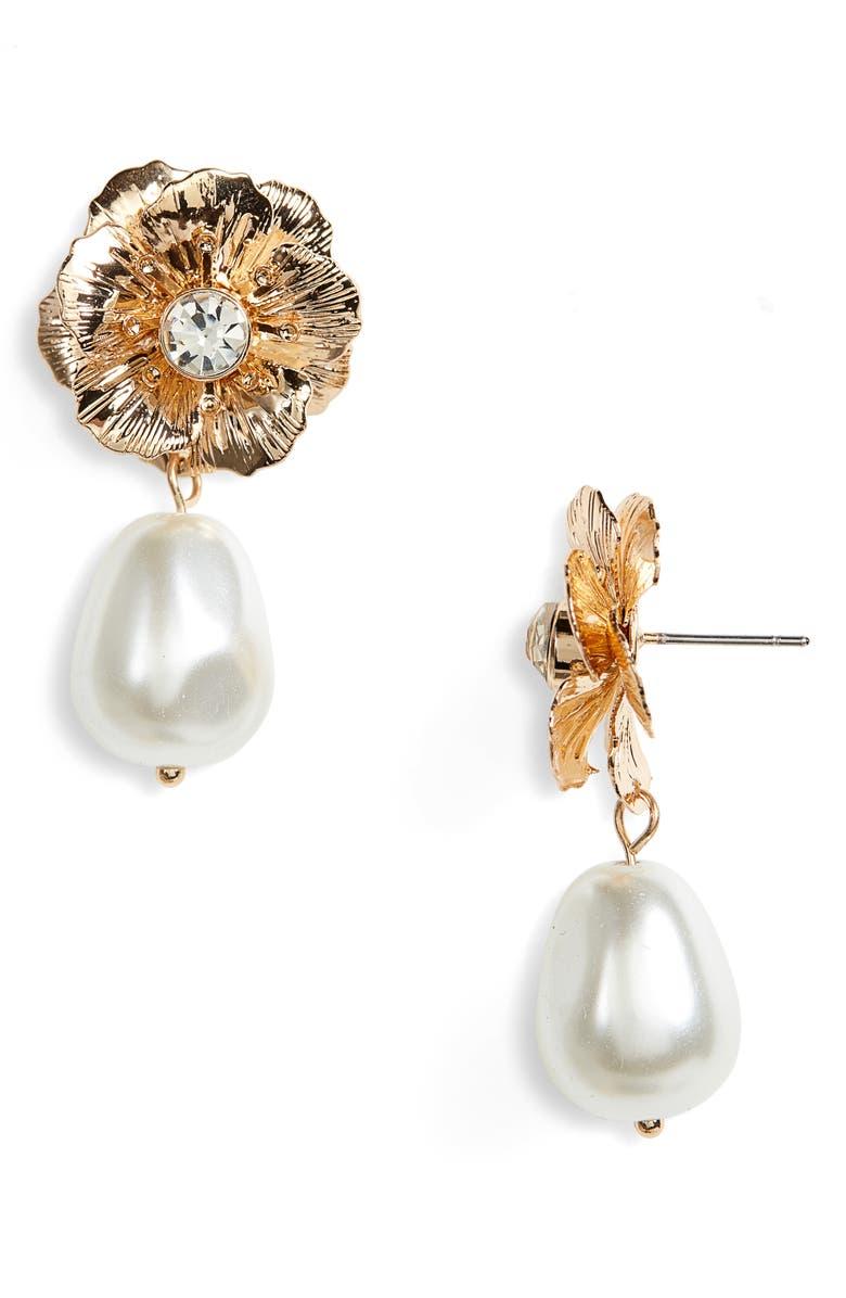 RACHEL PARCELL Flower Drop Earrings, Main, color, 100