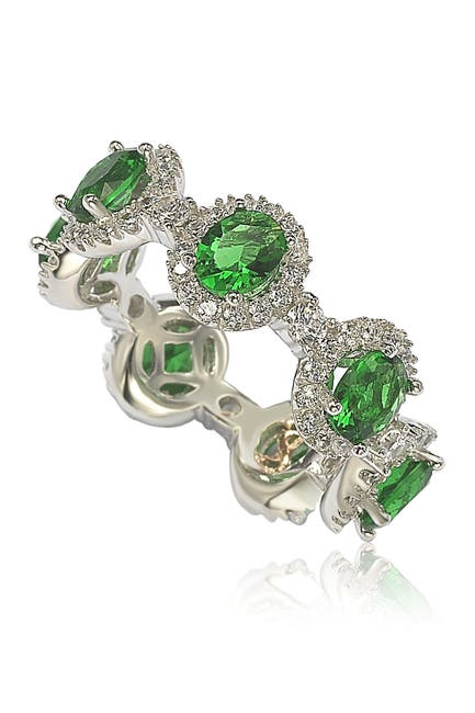 Image of Suzy Levian Sterling Silver Prong Set Green CZ & Pave Halo Station Eternity Band Ring