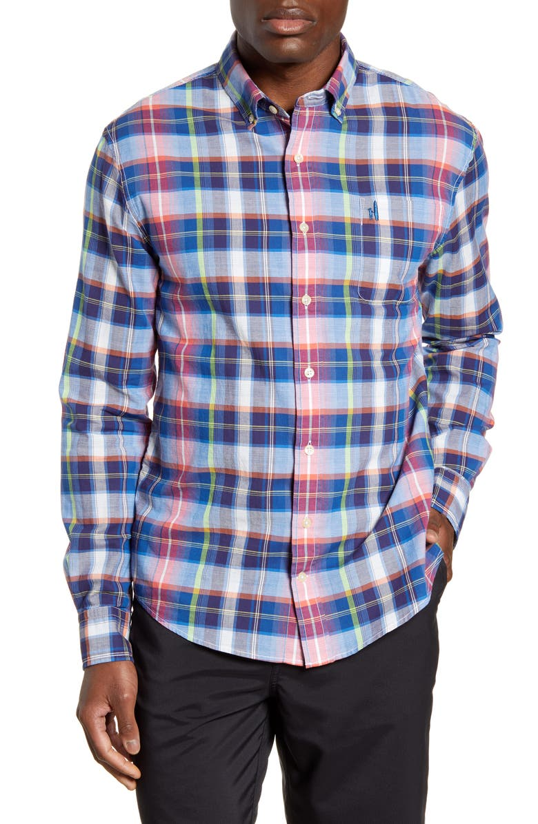 JOHNNIE-O Ethan Hangin Out Classic Fit Plaid Button-Down Shirt, Main, color, WAKE