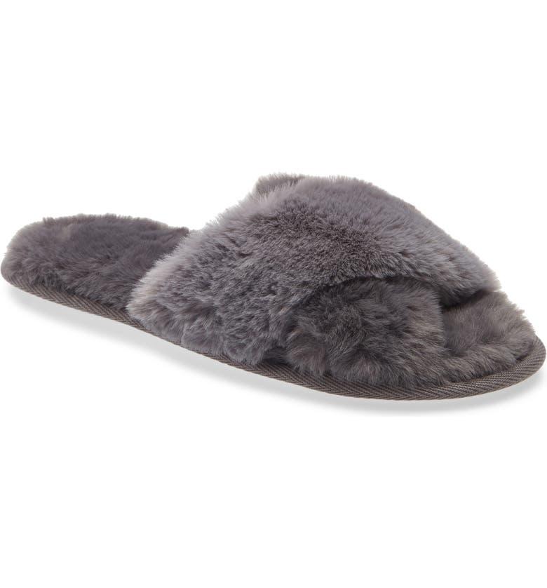 NORDSTROM Snuggle Plush Faux Fur Slipper, Main, color, GREY MAGNET
