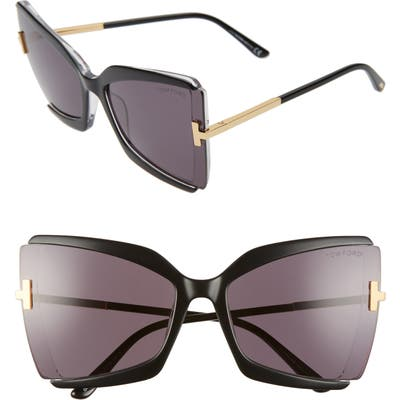 Tom Ford Gia 6m Oversize Butterfly Sunglasses - Black Crystal/ Grey