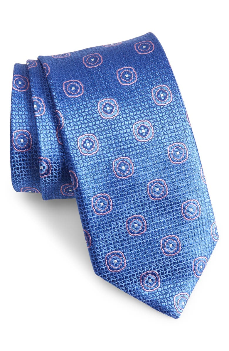 CANALI Medallion Silk X-Long Tie, Main, color, BLUE