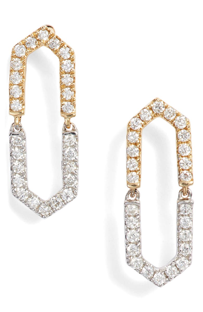 BONY LEVY Two-Tone Diamond Drop Earrings, Main, color, 040