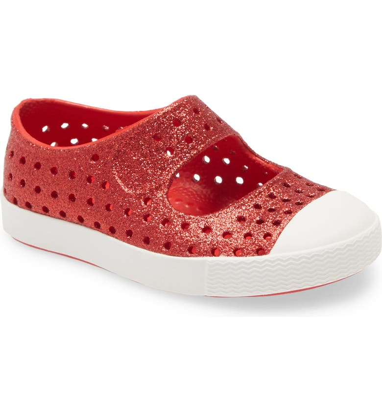 NATIVE SHOES Juniper Bling Glitter Perforated Vegan Mary Jane, Main, color, TORCH BLING/ SHELL WHITE