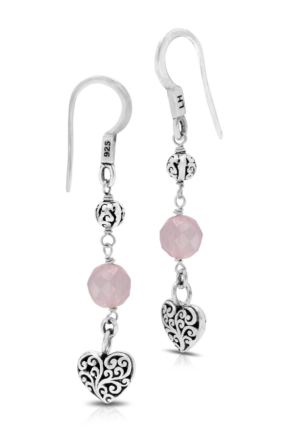 Lois Hill Sterling Silver & Rose Quartz Beaded Heart Drop Earrings