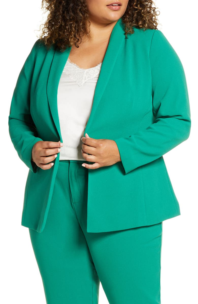 ELOQUII Shawl Collar One-Button Blazer, Main, color, VERDANT GREEN