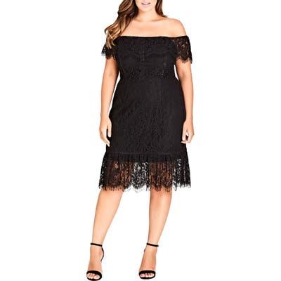 Plus Size City Chic Devotion Off The Shoulder Lace Dress, Black
