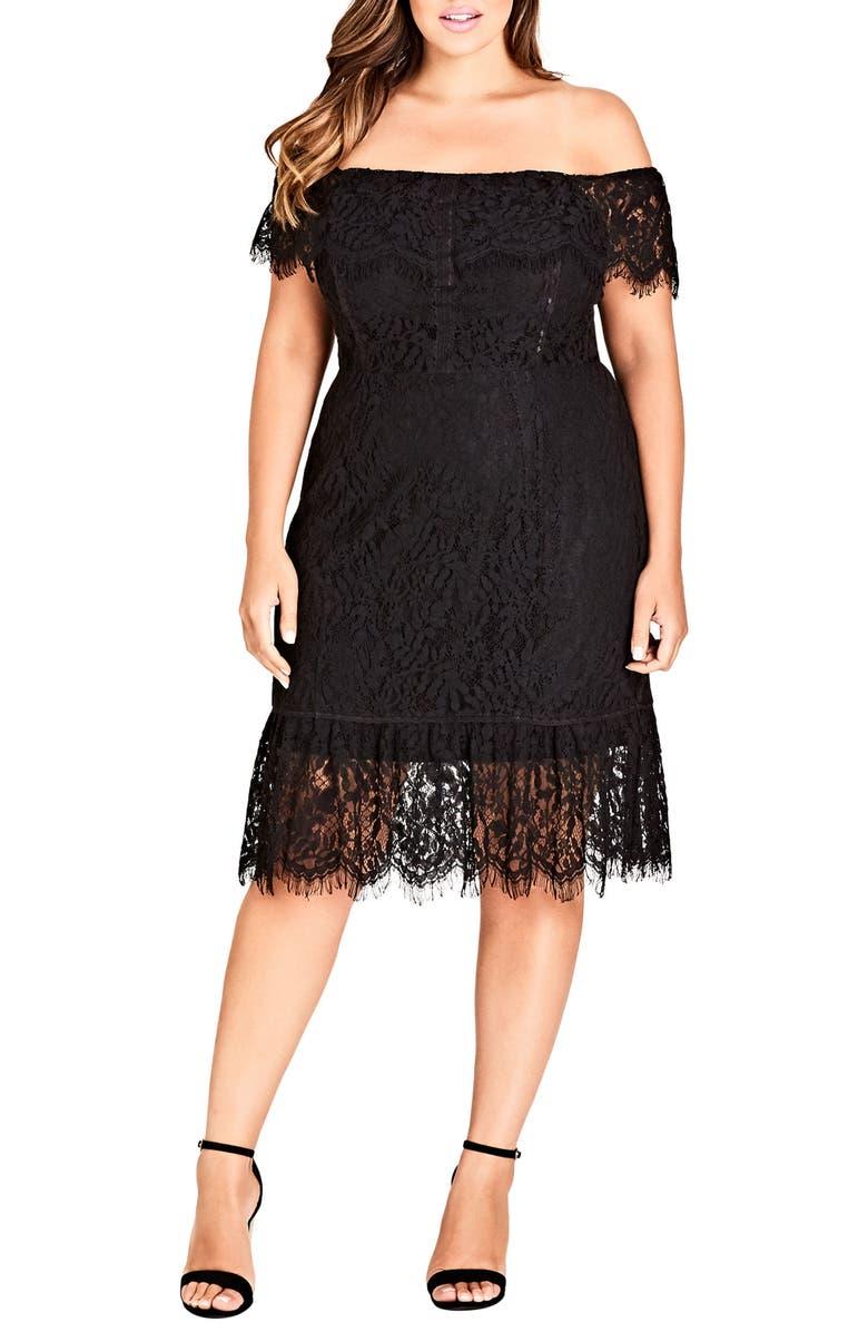 CITY CHIC Devotion Off the Shoulder Lace Dress, Main, color, BLACK