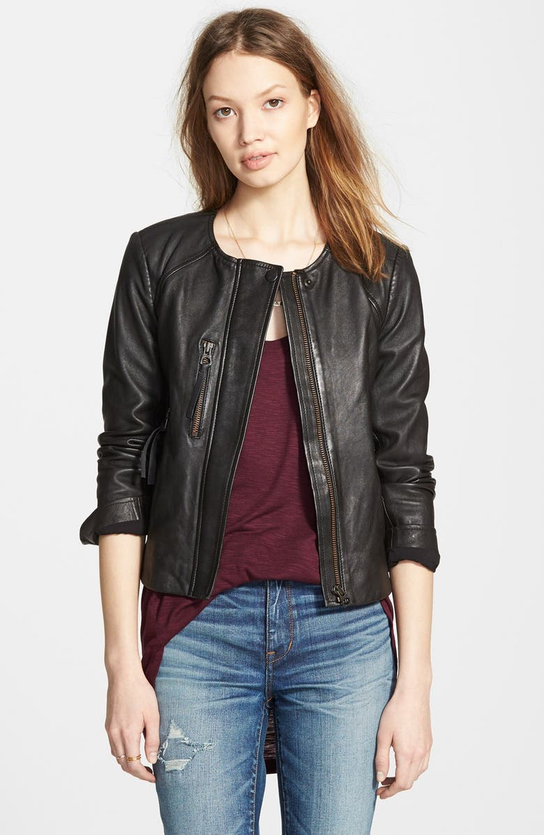 MADEWELL 'Metropolis' Collarless Leather Jacket, Main, color, 001