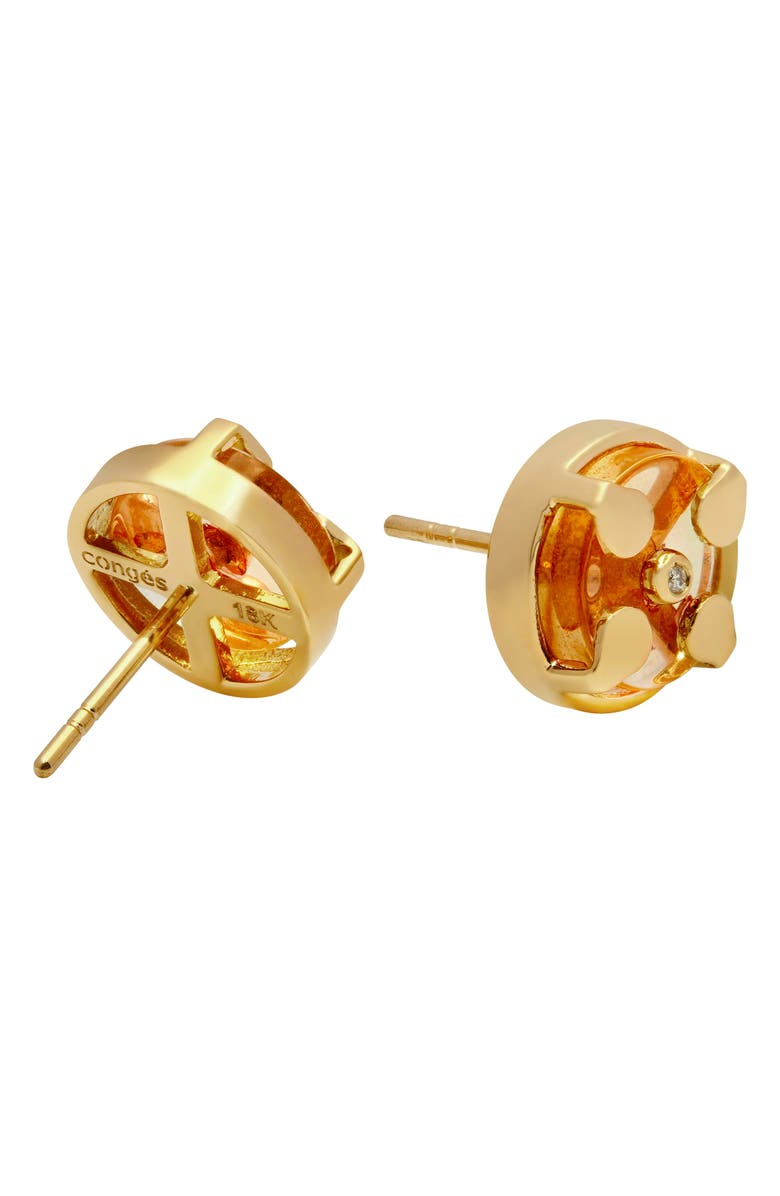 CONGÉS Success & Comfort Citrine Stud Earrings, Main, color, YELLOW GOLD