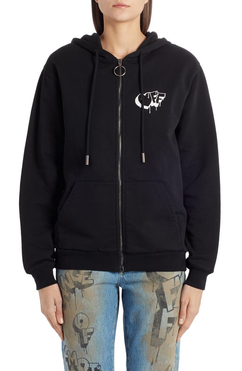 OFF-WHITE Markers Graphic Hoodie, Main, color, BLACK WHITE