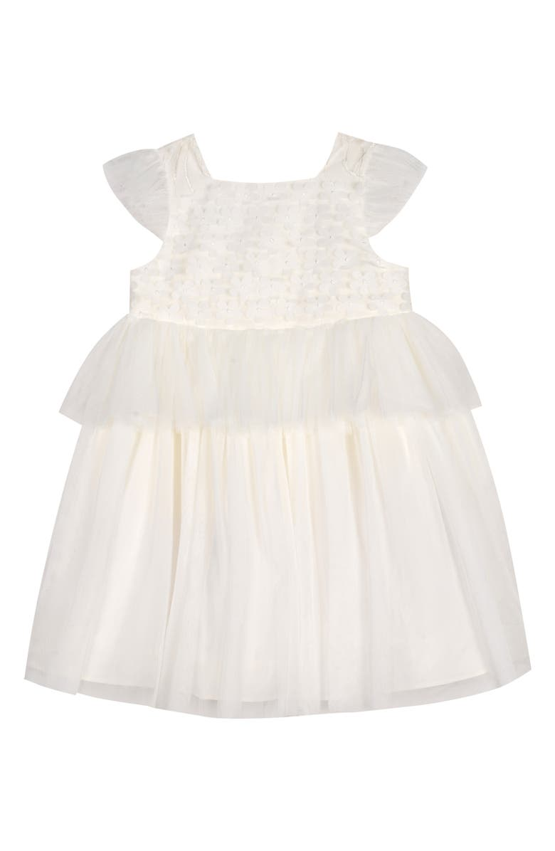 PIPPA & JULIE 3D Flower Peplum Flower Girl Dress, Main, color, WHITE