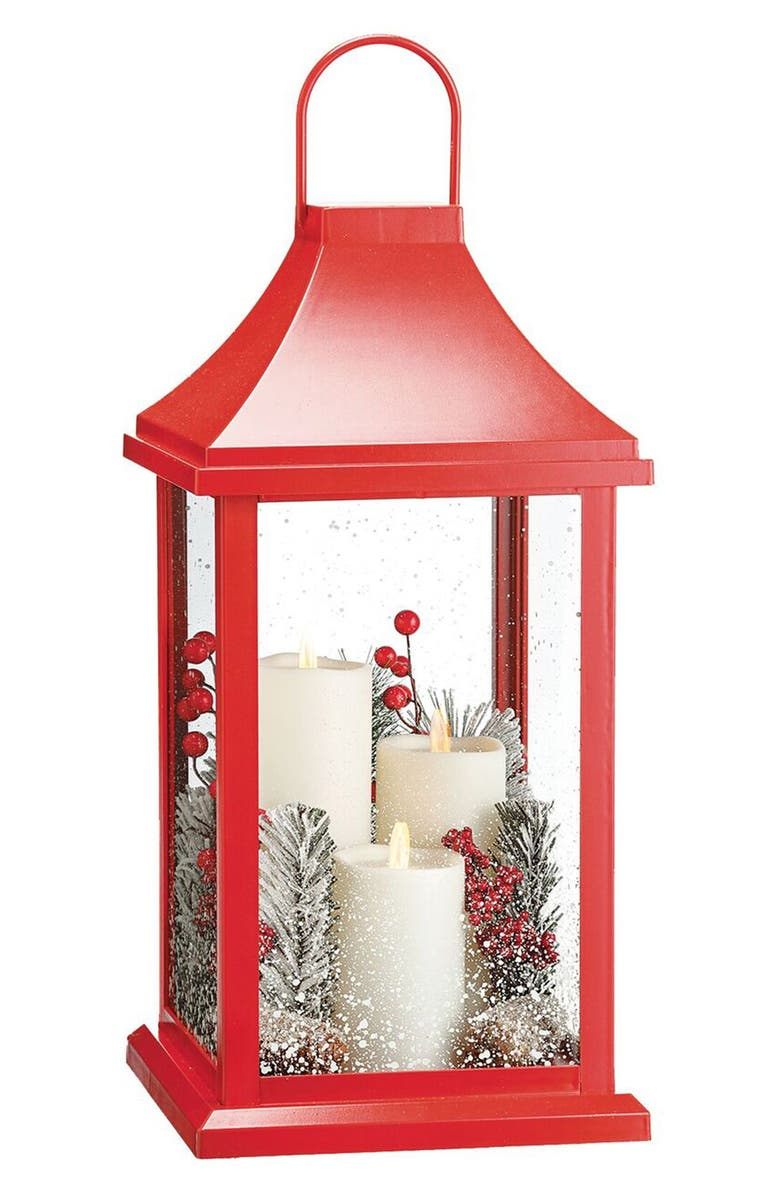 ALLSTATE Flameless Candle Lantern, Main, color, RED CLEAR