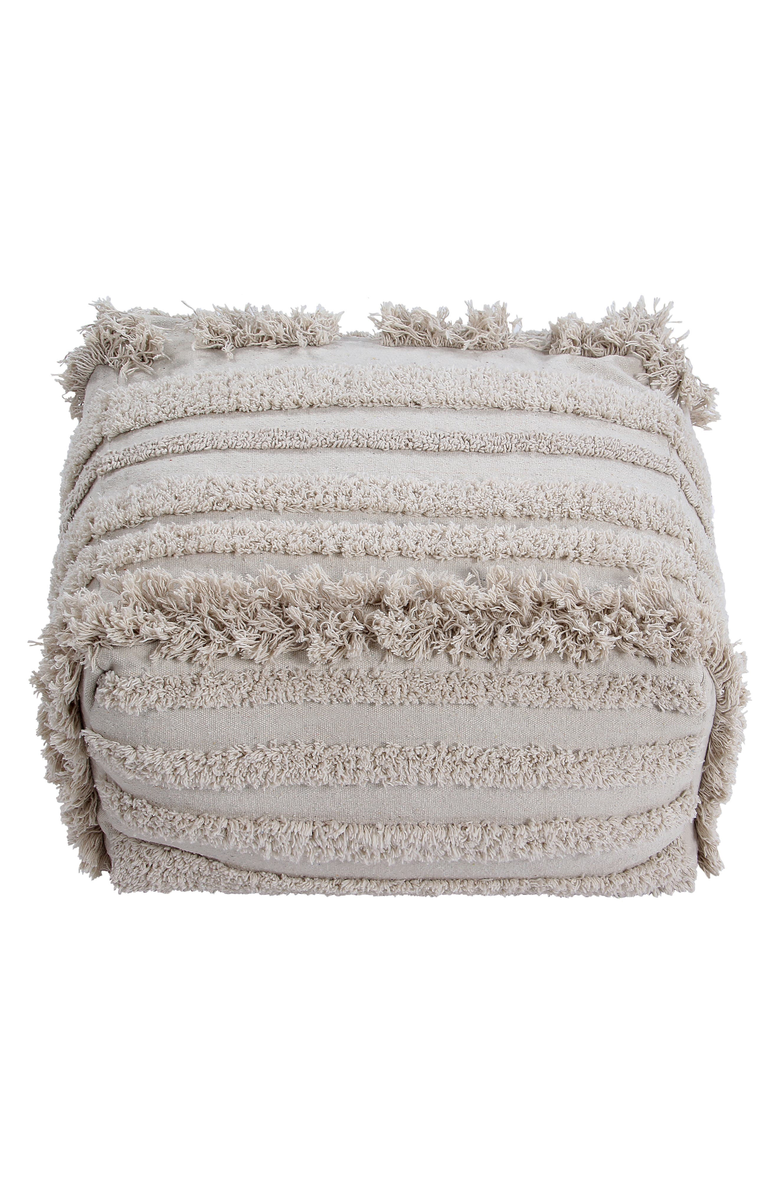 Made with recycled cotton and rich with touchable texture, this comfortable cushion makes a beautiful accent and provides comfy seating. Style Name: Lorena Canals Air Pouf. Style Number: 5869430. Available in stores.