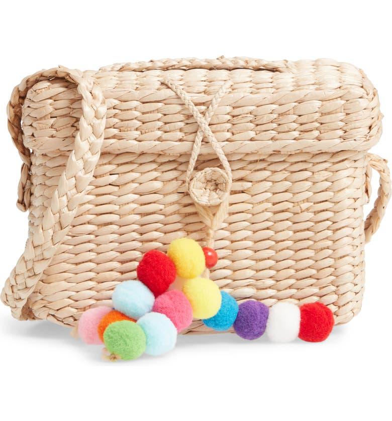 MALI + LILI Emma Pompom Woven Crossbody Bag, Main, color, NATURAL
