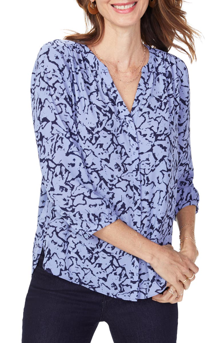 NYDJ Pleat Back Blouse, Main, color, MOUNTAIN VIEW ABSTRACT